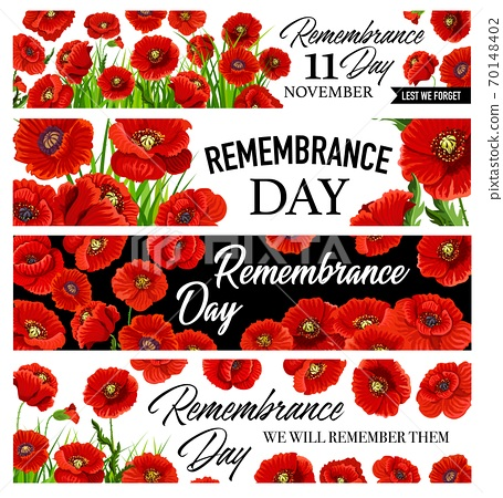 11 November Remembrance Day banners with poppies 70148402