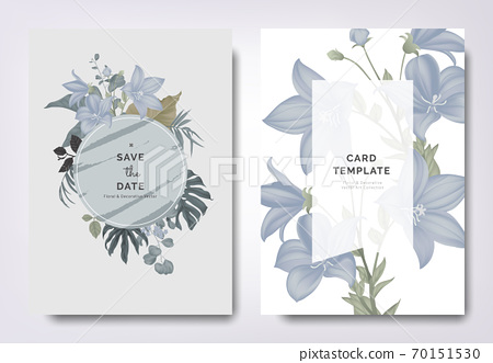 Botanical wedding invitation card template design, Platycodon flowers and leaves with circle frame 70151530