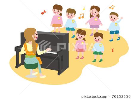 托儿所儿童在幼儿园唱歌和老师弹钢琴 70152556