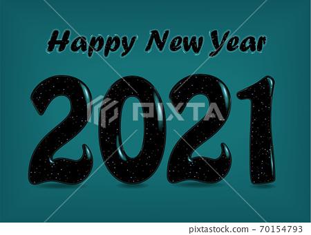 Happy New Yea 2021 Black number 70154793