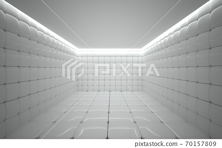Abstract architectural minimalistic background. Contemporary showroom. Modern concrete exhibition stand. Empty gallery. Backlight. 3D illustration and rendering. 70157809