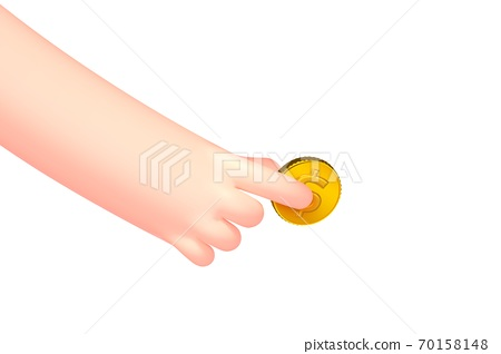 Vector cartoon hand with golden dollar coin 70158148