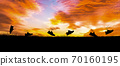 Concept design for Trail running at the sunset time 70160195