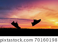 Concept design for Trail running at the sunset time 70160198