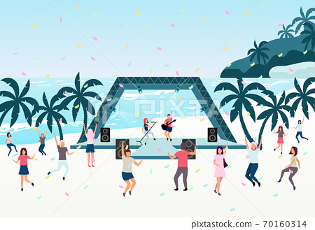 Beach party flat vector illustration. Open air live performance. Rock, pop musician concert in park, camp. Concert on shore of tropical island. Dancing holidaymakers, tourists cartoon characters 70160314
