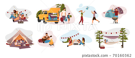 Summer camp visitors flat vector illustrations set. Holidaymakers isolated cartoon characters. Travelers, hikers resting in tent, hammock with campfire. Summertime relax, recreation, countryside trip 70160362