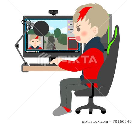 在計算機上玩現場遊戲的男性發行人 70160549