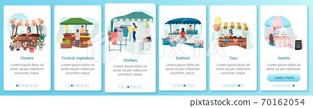 Summer fair onboarding mobile app screen template. Outdoor street market stalls. Flowers, seafood, sweets trade tents. Walkthrough website with flat characters. UX, UI smartphone cartoon interface 70162054