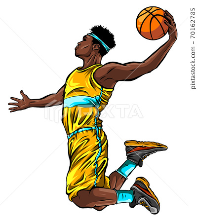 cartoon basketball player is moving dribble with a smile vector 70162785