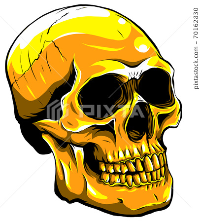 gold human skull on white background. vector illustration 70162830