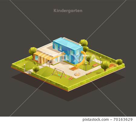 Isometric Modern Kindergarten with playground 70163629