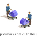 father with baby carriage 70163643