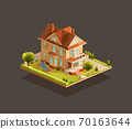 Suburban family house with a playground 70163644