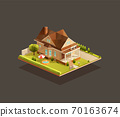 Suburban poor family house with porch 70163674