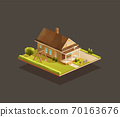 Suburban poor family house with wooden porch 70163676