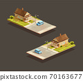 Suburban family houses with MPV on street 70163677