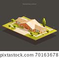 Elementary school isometric illustration 70163678