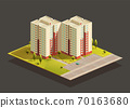 Tower twins Block of Flats isometric illustration 70163680