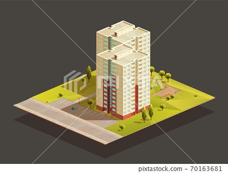 Soviet tower twins Block of Flats isometric illustration 70163681