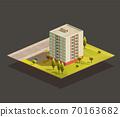Soviet tower Block of Flats isometric illustration 70163682