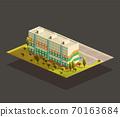 Soviet Block of Flats isometric illustration 70163684