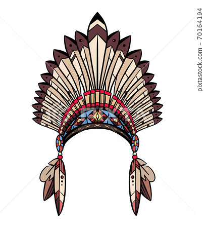 Coloring drawing of native cap of Indian with feathers and decorations. Tribal costume. Vector illustration 70164194