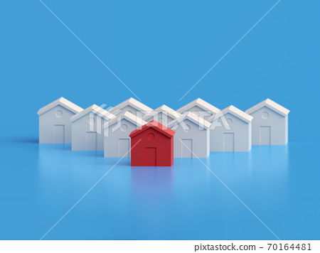 Hot Property amongst others, red house amongst the white. Rise in price of real estate. Many houses one is red. 3d illustration 70164481