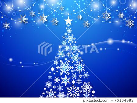 閃光☆聖誕樹和雪晶裝飾藍色的簡單風景 70164995