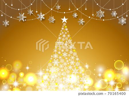 반짝이 ☆ 크리스마스 트리와 눈송이 장식의 간단한 풍경 금 70165400