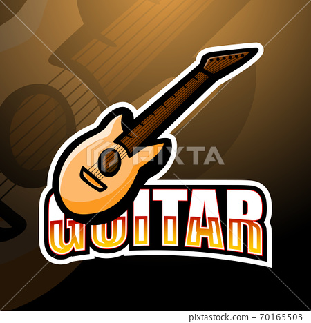 Cartoon guitar Mascot logo design	 70165503