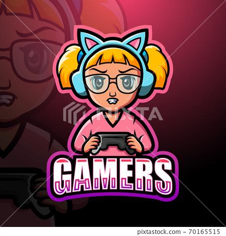 Gamer girl mascot esport logo design 70165515