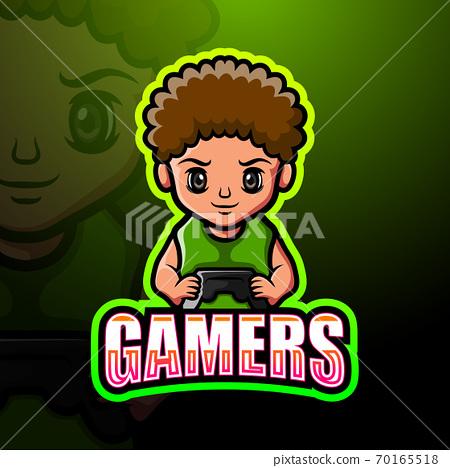 Gamer boy mascot esport logo design 70165518