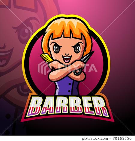 Barber mascot esport logo design 70165550
