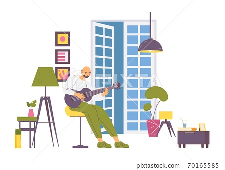 Male guitarist training to play a guitar. Home cosy interior scene about love to the music, education at adult age and spending time with benefits 70165585