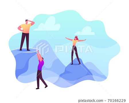 Risky Behavior, Extreme Recreation and Danger Activity Concept. Risk Taker Male and Female Characters Climbing on Rocks 70166229