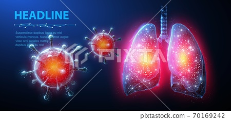 Virus in lung. Abstract vector 3d corona microbe on lung background. Pneumonia virus, covid illnes, medical healthcare, microbiology concept. 70169242