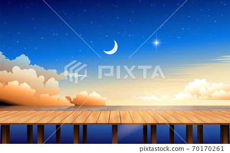 landscape of wooden bridge on the beach in the morning 70170261