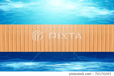 top view wooden bridge on the river in day time 70170265