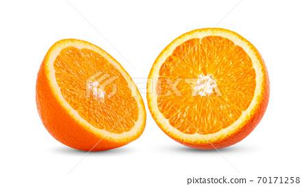 Ripe half of orange citrus fruit on white background 70171258