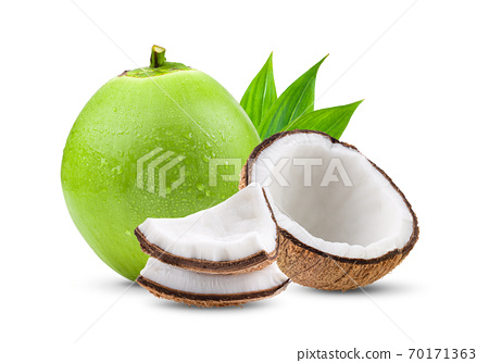 Green young coconut with drop water isolated 70171363