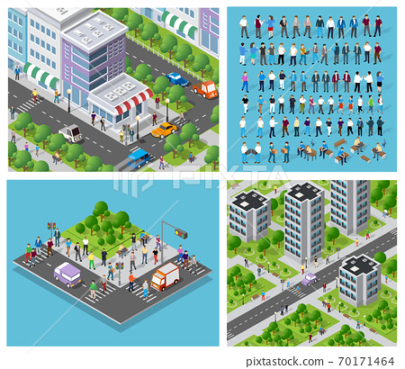 Isometric set of 3D city three-dimensional summer city quarter 70171464