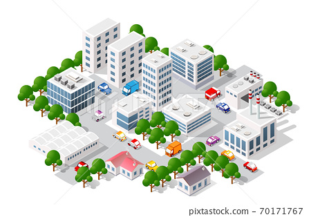 Isometric view of the city. Collection of houses 3D 70171767