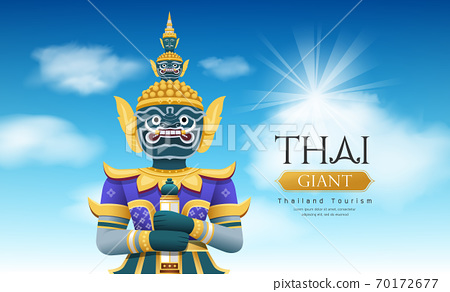 Thai giant vector, on cloud and sky design on blue background, 70172677