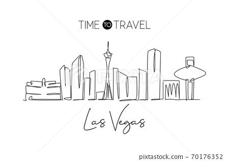 One single line drawing Las Vegas city skyline, United States 70176352