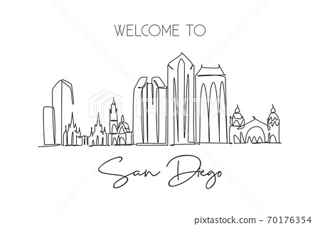 Single continuous line drawing of San Diego city skyline, USA 70176354