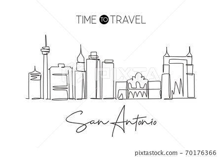 Single continuous line drawing of San Antonio city skyline, United States of America 70176366