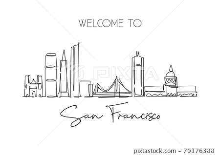 One continuous line drawing San Francisco city skyline, United States of America 70176388