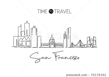Single continuous line drawing of San Francisco city skyline, United States 70176392