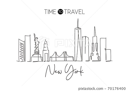 Single continuous line drawing of New York city skyline, USA 70176400