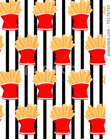 Hand draw french fries. Doodle french fries seamless pattern stripe background.Fast food seamless vector pattern. 70176785